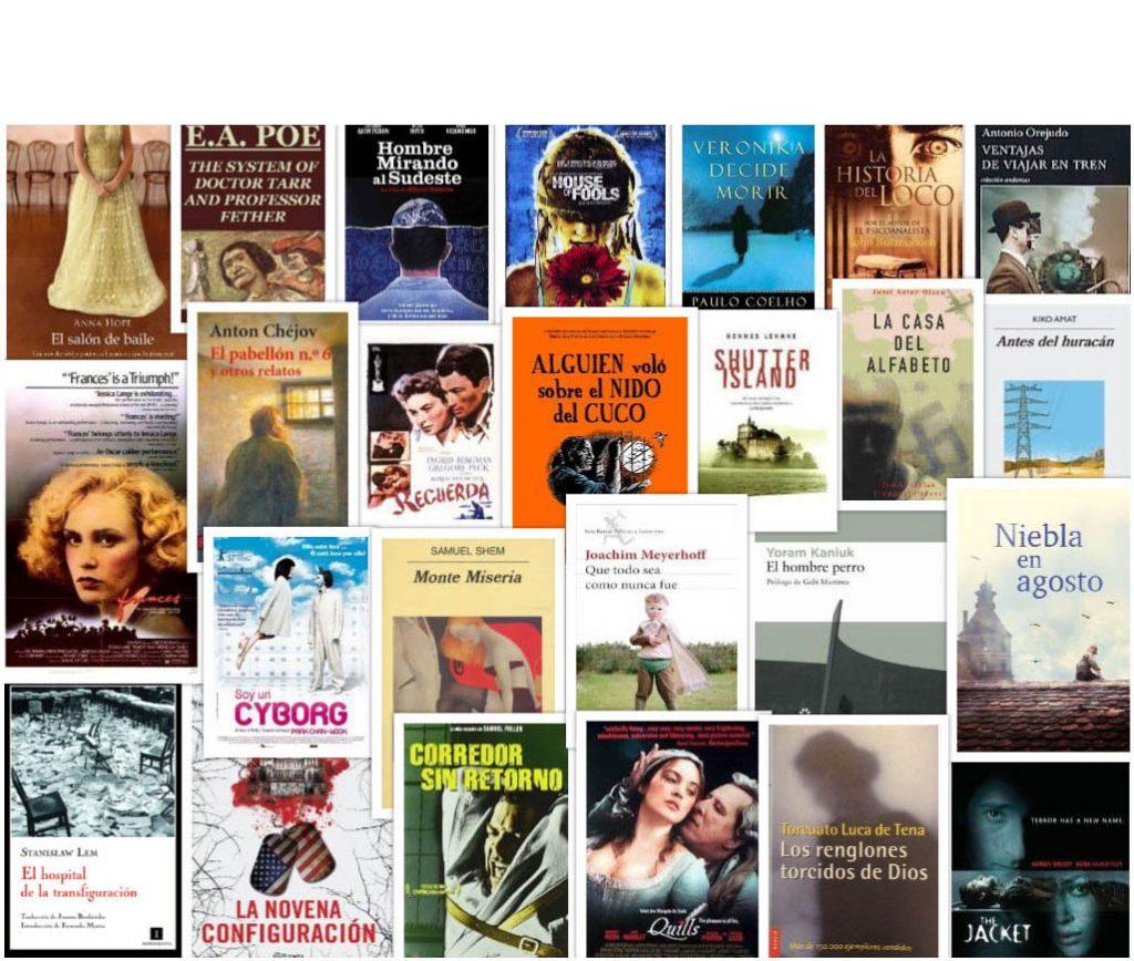Portadas de novelas y películas que transcurren en un manicomio